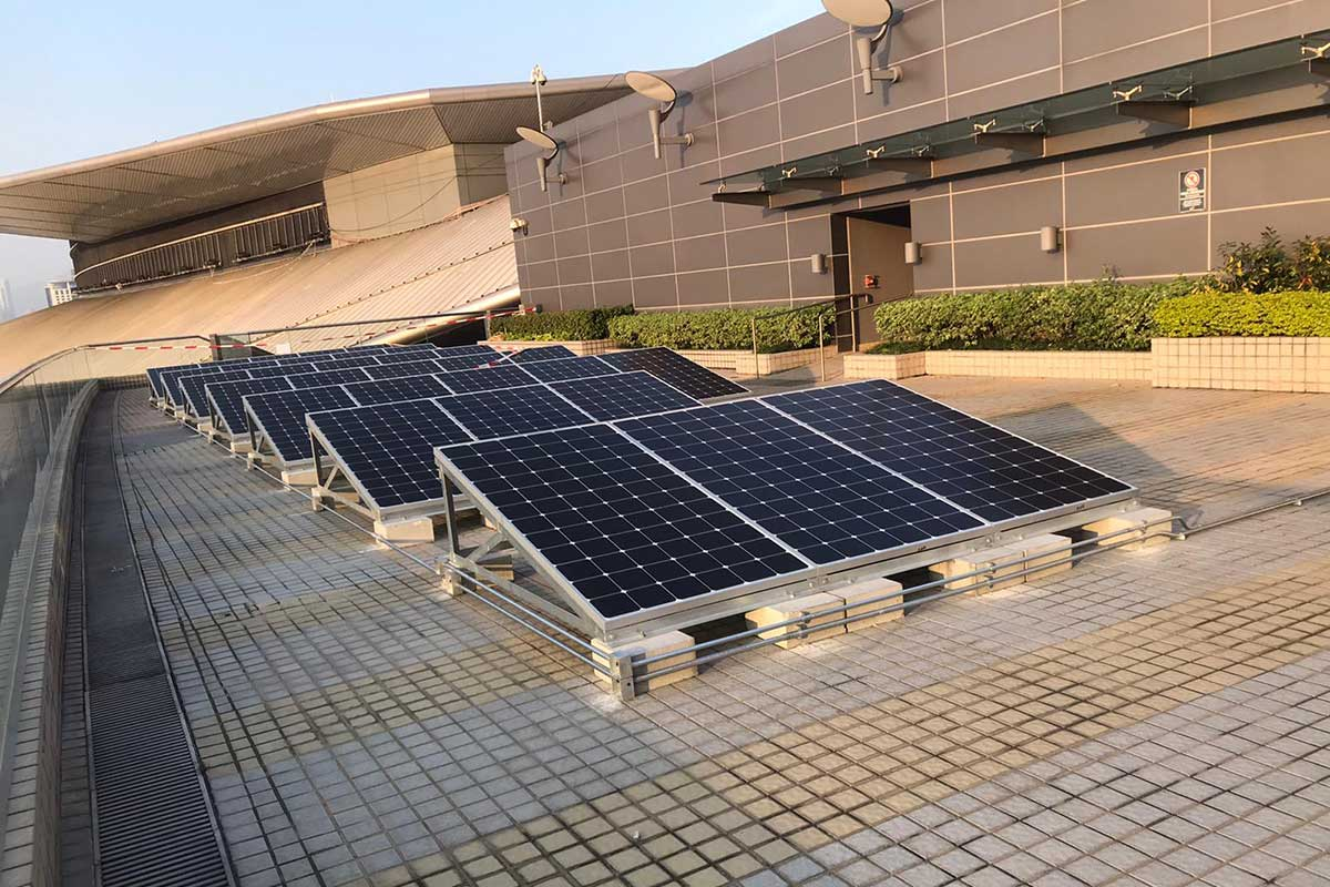 Renewable energy is generated through rooftop solar panels.